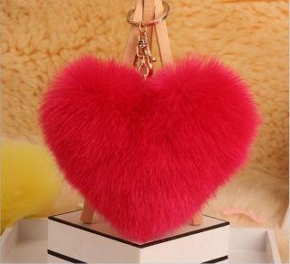 Pink Heart szőrme pom-pom kulcstartó és táskadísz