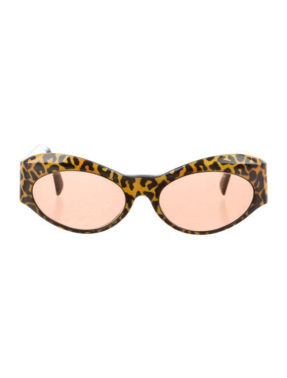 90s GIANNI VERSACE Leopard Print Geometric Cat Eye Vintage Designer Sunglasses - HIGHLY Collectable!