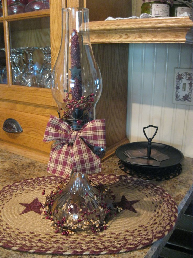 Prim oil lamp made to be a candle holder / decoration.