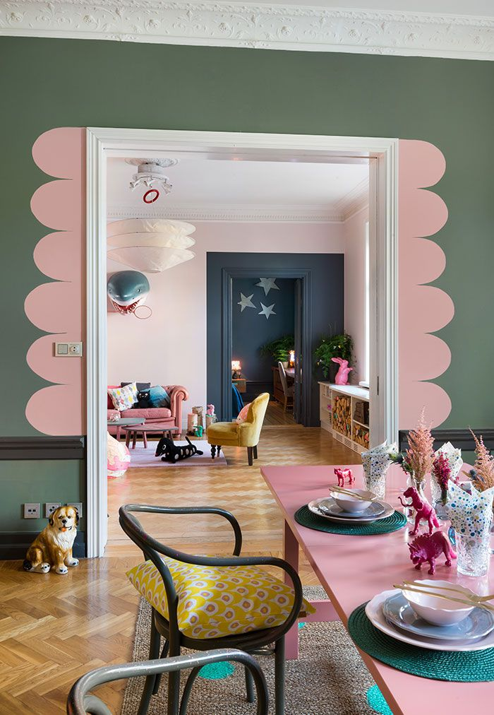 Whimsy paint details in the dining room: Isabelle McAllister för Beckers