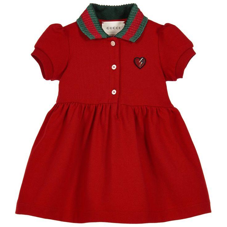 Gucci - Baby Girls Red Cotton Piqué Dress   Childrensalon