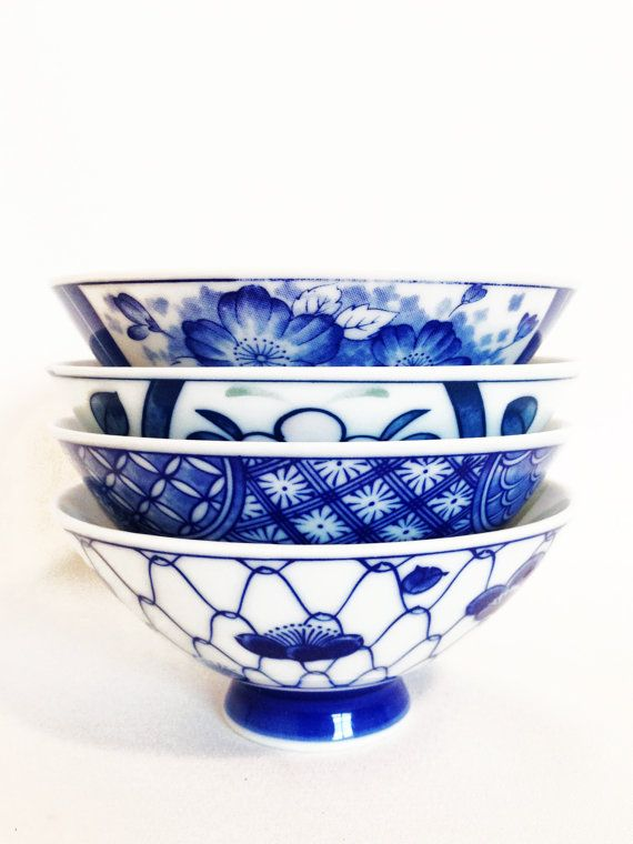 Vintage Oriental Rice Bowls - Asian - Sushi - Blue and White  Asian Decor Oriental Decor Chinoiserie