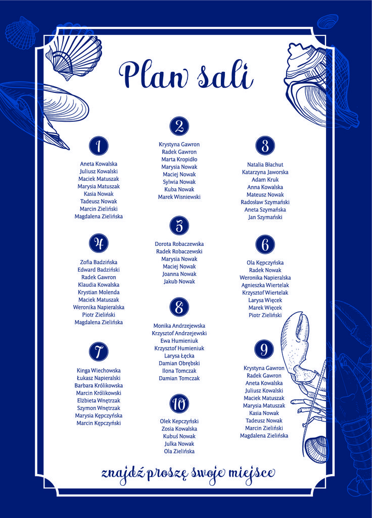 plan stołów seria Morska