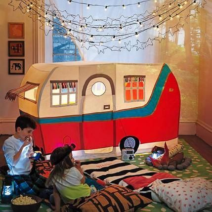 Jetaire Camper Play Tent  Skip the bugs and bring the fun of one of summer's favorite pastimes to your living room anytime with this ultimate play tent. What kid wouldn't love this modern take on the fort? Handmade and handstitched, the camper features seven windows, an embroidered license plate, logo and patchwork tire. Throw in some S'mores fixings and be prepared to be the sleepover hit of the year.