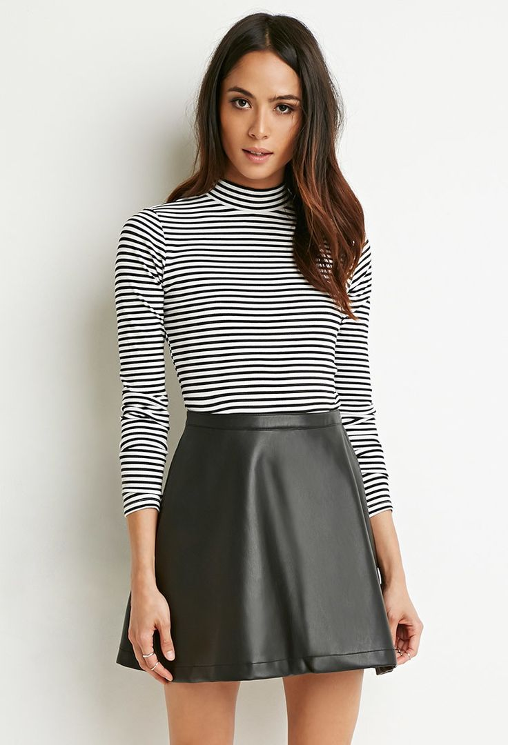 Faux Leather Skater Skirt - Skirts - 2000172556 - Forever 21 EU English