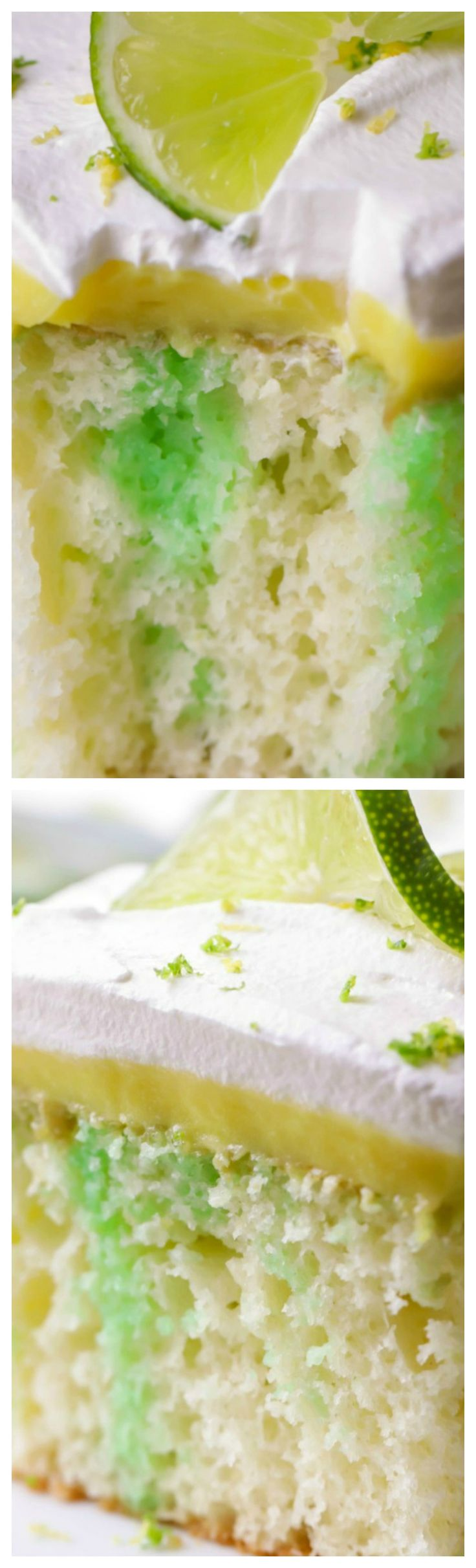 Lemon Lime Poke Cake ~ Soft and delicious... Full of lime and topped with a creamy lemon pudding and topped with whipped cream and zest!