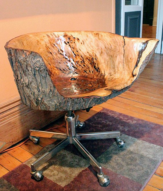 One of a kind salvaged maple sculpted chair with bark on vintage metal swivel legs with recline, rustic, live edge, handmade