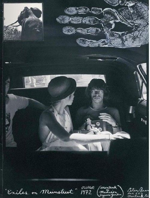 """Bianca and mick jagger photographed in 1972 by peter beard during the rolling stones' """"exile on main street"""" tour."""