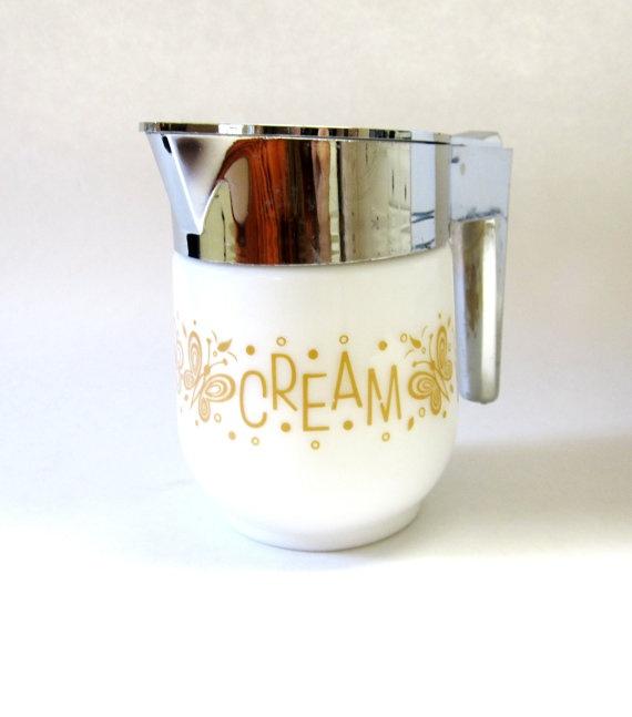 Vintage  White Gold Creamer Flip Top Lid by sweetie2sweetie, $12.99