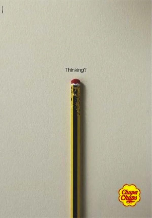 Chupa Chups - Thinking | #ads #adv #marketing #creative #publicité #print #poster #advertising #campaign < repinned by www.BlickeDeeler.de | Have a look on www.Printwerbung-Hamburg.de