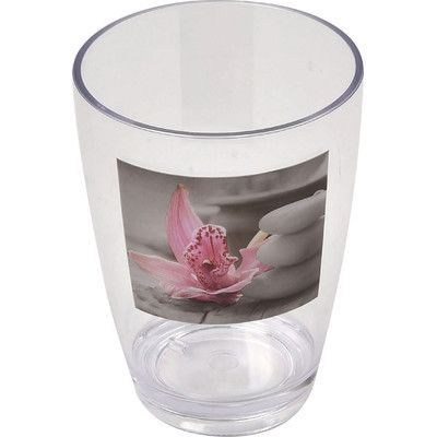 Evideco Chic and Zen Clear Acrylic Printed Bathroom Tumbler