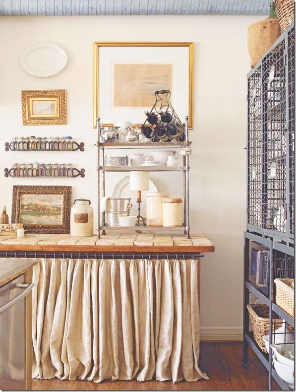 linen skirt ~ love this idea for the front of my stainless steel table ~ from Cote De Texas Blog