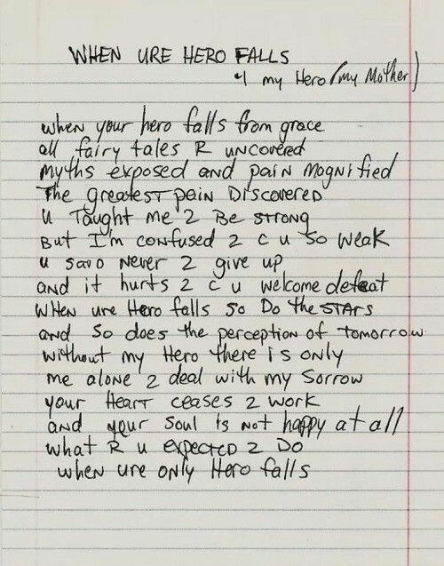 Possibly my favourite poem ever. When Ure Hero Falls. By Tupac Shakur