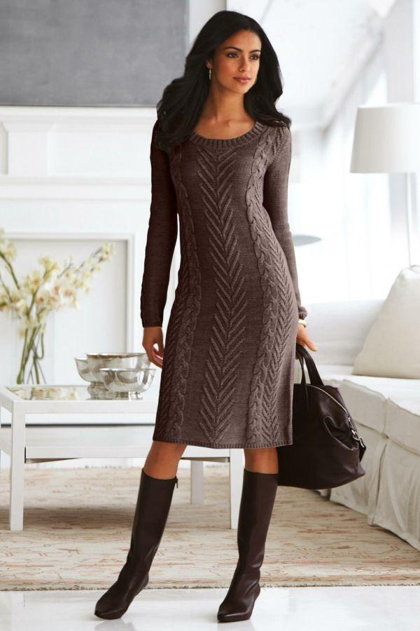 robe pull superbe, couleur chocolat, jolies torsades
