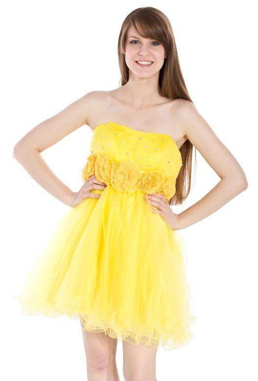 Strapless yellow dress short