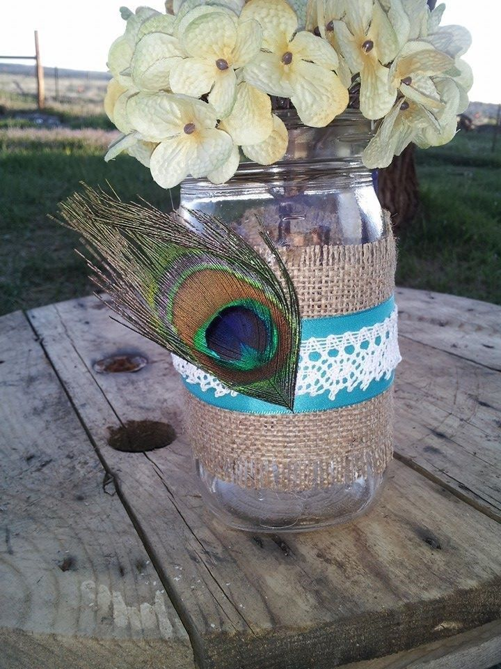Burlap, peacock and lace mason jar wedding wrap decoration