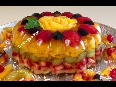 Gelatina transparente con frutas . - YouTube