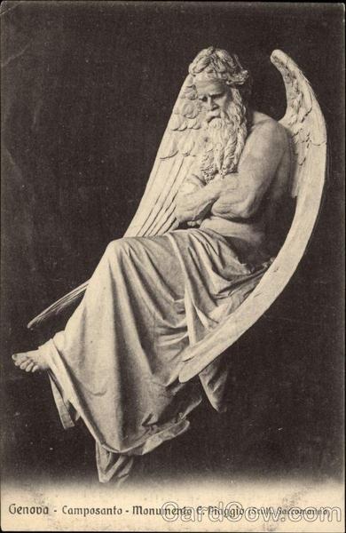 Genoa Cemetery Monument - Piaggio - Bearded Angel Angels
