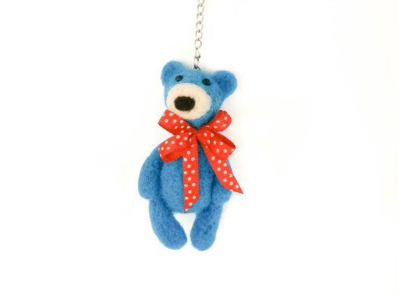 Bear keychain Blue bear Bear zipper charm Bag от CreativeAtelierBg