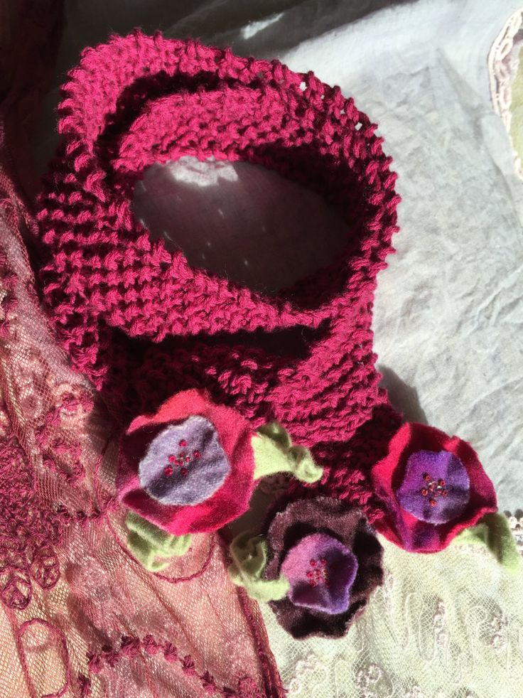 Hand-knit & Felt Floral Embellished Raspberry Scarf-style Necklace by GabrielleEloise on Etsy