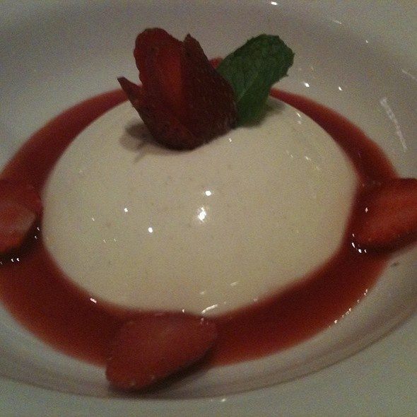 E Birra most favourite Vanilla pannacotta with strawberry purse sauce by Panji (FoodSpotting)