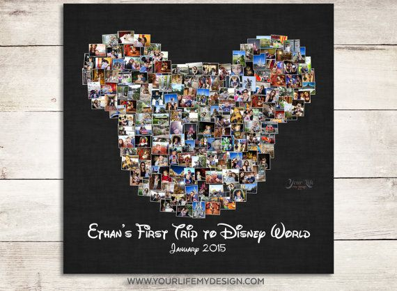 My First Disney Trip, Disney Photo Album, Family Trip to Disney World, Disney Family Vacation, Photo Collage, Mouse Ears