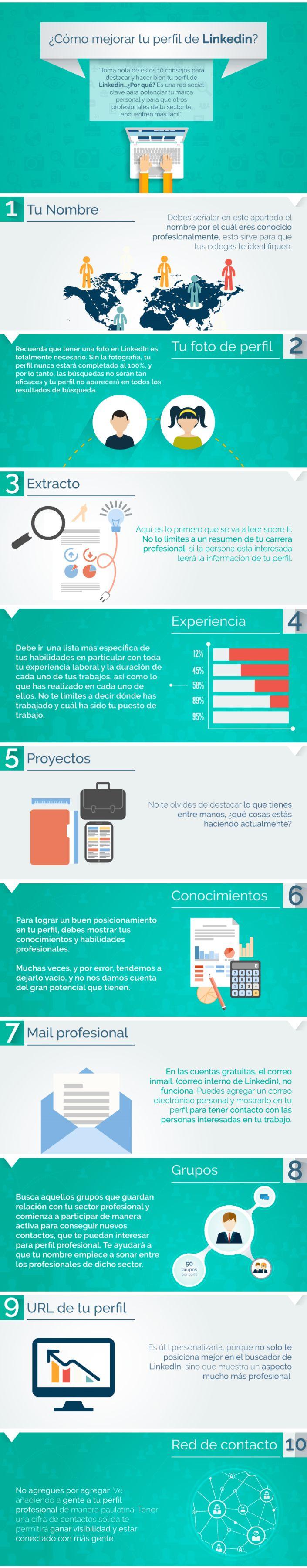 10 consejos para mejorar tu perfil de Linkedin #infografia #infographic #socialmedia