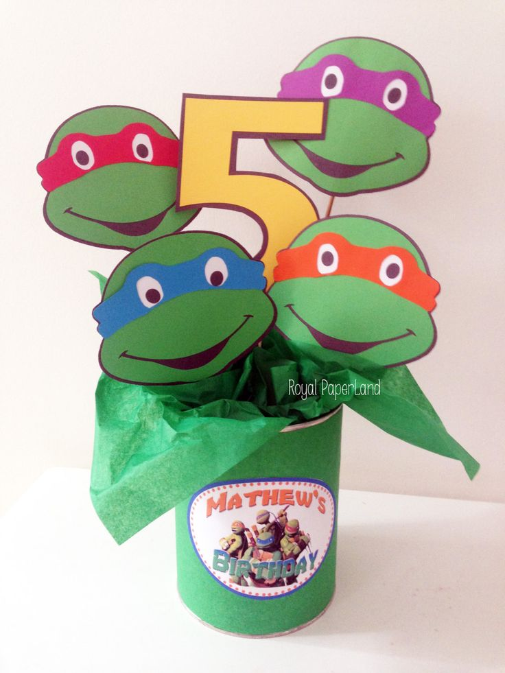 NINJA TURTLE'S Center Piece  *Event's decoration* (Teenage Mutant Ninja Turtles) by RoyalPaperLand on Etsy