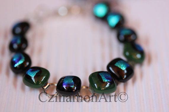 Black and Dark Green Dichroic Fused Glass Bracelet by CzinamonArt, €25.00