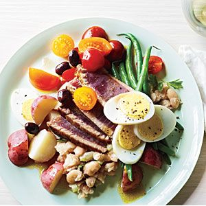 A variation on one of my all time favorite dishes ~ Seared Tuna Nicoise with Lemony White Bean Mash: Place 1 (15-ounce) can rinsed & drained cannellini beans or cooked dried white beans in a bowl; mash with a fork. Add 3 tablespoons chopped celery, 2 tablespoons chopped fresh parsley, 1 tablespoon fresh lemon juice, 2 teaspoons olive oil, and ¼ teaspoon kosher salt; stir to combine. Cooking Light