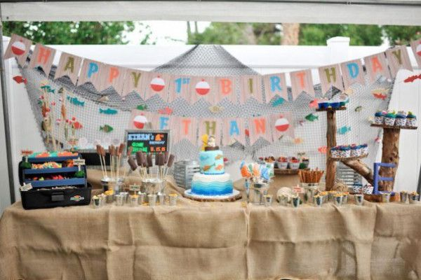 """12 First Party Themes to Celebrate the Birthday Boy: Catch the Big ONE Theme- This fishing fiesta was a """"reel"""" hit with one lucky little fisherman."""