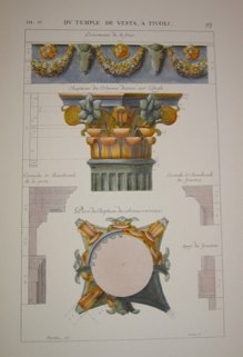 "columns and capitals II italian contemporary hand coloured engraving  9 x 14"" $110"