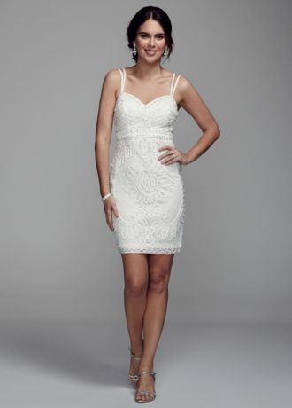 Spaghetti Strap Short Dress With Beaded Soutache Style S067