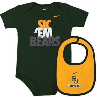 Nike #Baylor Bears Infant Creeper Bib Set - Green/Gold: Creeper Bib, Bib Set, Nike Baylor, Bears Infant
