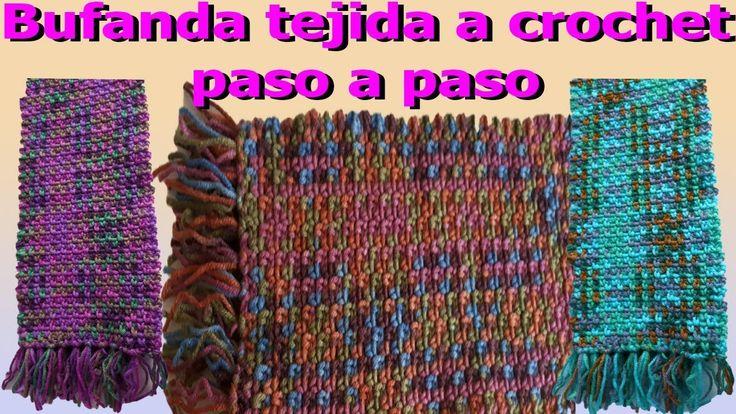 🔴 Como hacer Bufanda a crochet paso a paso facil y rapido / how to make ...