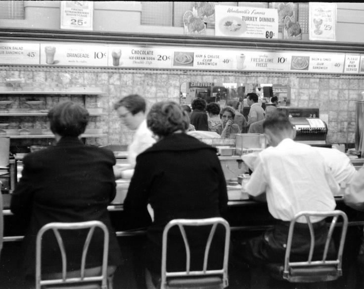 Lunch counter at Woolworth's on Ste. Catherine, Montréal | Alfred Bohns