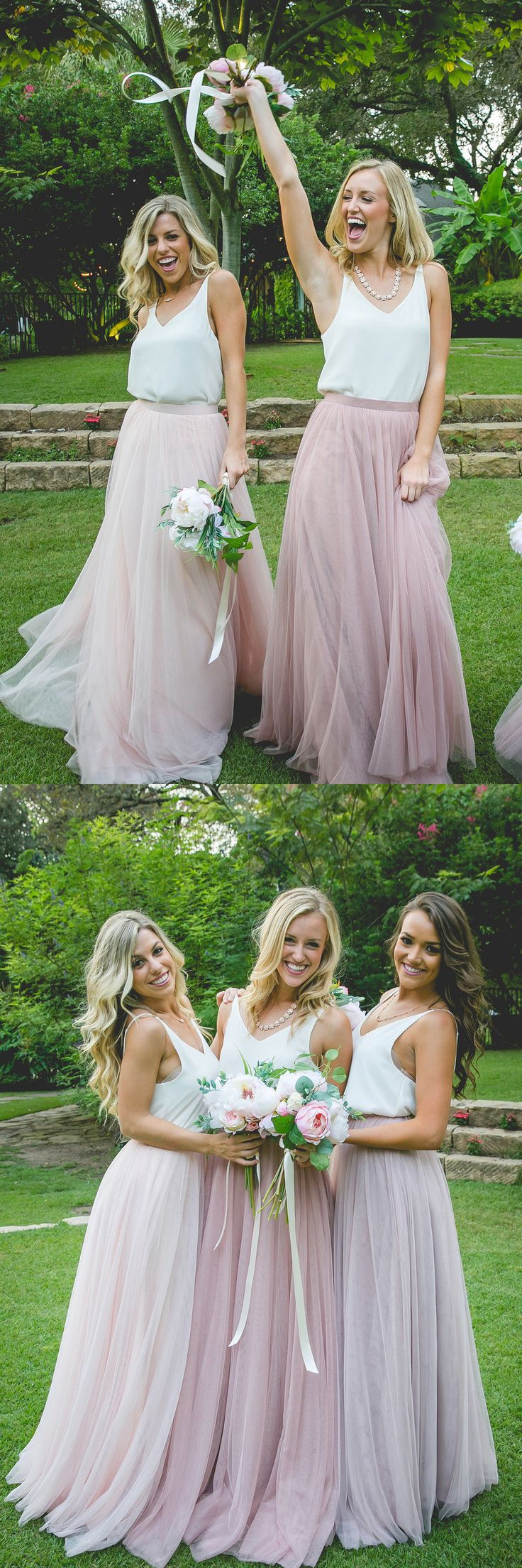 2017 long bridesmaid dress, pink long tulle bridesmaid dress, two piece bridesmaid dress, tutu skirt.....MICH... looks like it may come in a grey/silver?