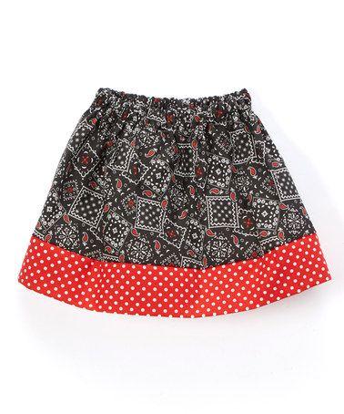 Loving this Black & Red Bandanna Twirl Skirt - Infant, Toddler & Girls on #zulily! #zulilyfinds