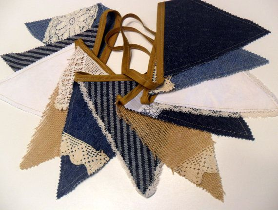 Rustic Wedding Banner Burlap Bunting Denim and Lace by Aprons2tie4, $24.00