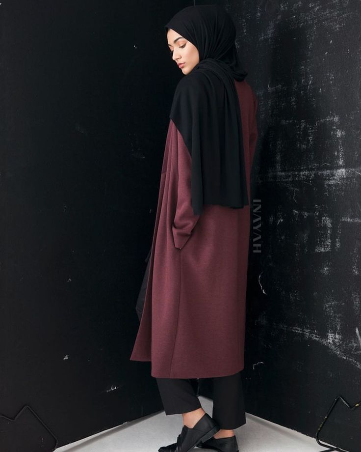 INAYAH | We strive to produce timeless designs couples with the highest quality of fabrics -  Plum #Jersey #Blazer + Black Straight Leg #Trousers + Black Rayon Blend Jersey #Hijab + Medium Nude Soft Cotton Scrunchy -www.inayah.co