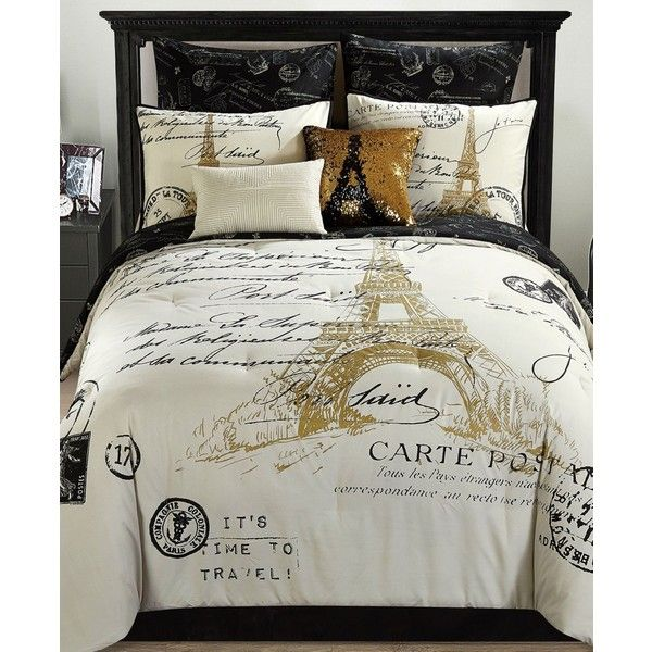 Paris Reversible 8-Pc. Gold King Comforter Set ($300) ❤ liked on Polyvore featuring home, bed & bath, bedding, comforters, gold, gold king comforter set, parisian bedding, gold bedding, king size bedding and king size comforters