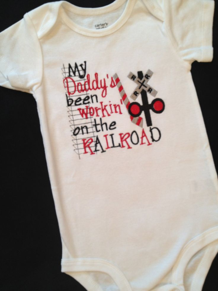 My daddys been working on the railroad onesie by sewsosweetdesigns, $23.00