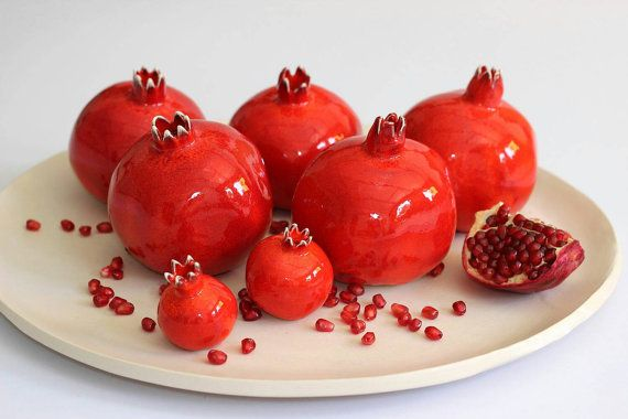 This listing is for 1 small pomegranate. It will look great sitting on a table, shelf or the fireplace mantle. The juicy, red, sweet pomegranate fruit is considered a symbol of good luck,abundance, fertility and beauty. Its probably because it has a lot of seeds and sections, which symbolize the many good qualities and deeds that each one of us has done. Because of the beauty of the fruit and symbolic values, it is commonly sculptured and drawn for decoration. This little sweetie is the…