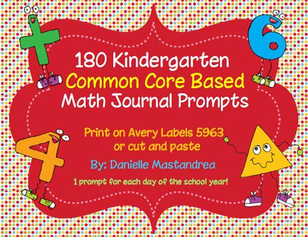 180 Kindergarten Math Journal Prompts- COMMON CORE ALIGNED!!!