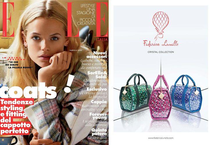 Elle November 2013 - ADV in Elle. www.federicalunello.com #federicalunello #bags #accessories #handmade #madeinitaly