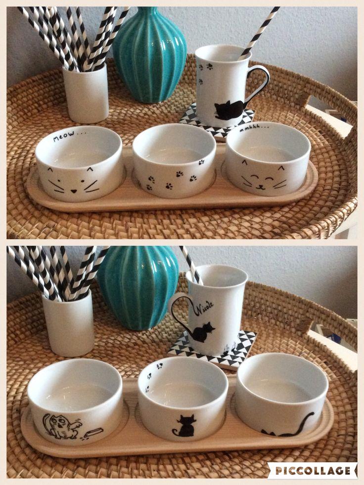 DIY: Porzellanschälchen von IKEA (Ikea Hack) und Tasse mit Katzenmotiven bemalt (Porzellanstift sei Dank ☺️).