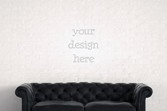 Download Free Black Leather Sofa Mockup Blank Wall Photography