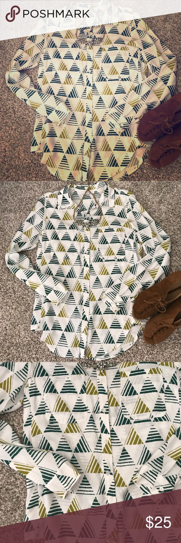 Ro&De white and green patterned blouse This is a new without nags top from Anthropologie. It is white with a green triangle pattern. The top is a size small and is so cute on! Anthropologie Tops Button Down Shirts