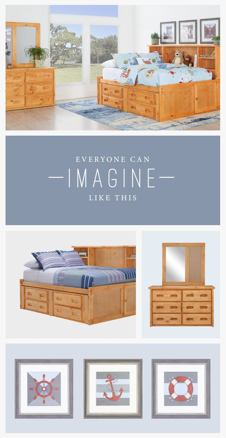 Make the most of your kids' small space with storage furniture! A bookcase bed with drawers underneath allows you to keep almost everything hidden away.