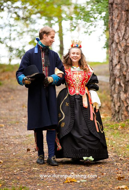 Copyright-Laila-Duran Toarp wedding costumes. Most brides in the Swedish countryside dressed like this until about 150-200 years ago. The dresses and crowns were owned by the church and then they got decorated by pearls, silk paper, flowers and just about everything they could use.